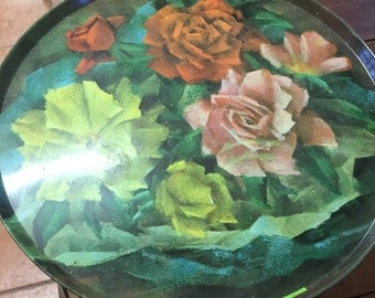 Vintage Roses Metal Table/Tray with detachable legs