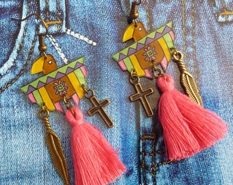 Bronze metal earrings multicolor Eagle handpainted crazy shrink plastic and pink tassel ethnic inca Aztec fuchsia feather