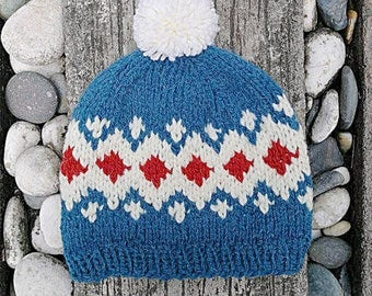 Icelandic hat, Nordic hat, Scandinavian hat, Winter Hat, Pom-pom hat, fair isle wool hat, norwegian hat, woodland hat