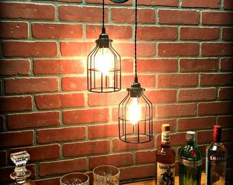 Black Ornate Pulley Light with Cool Wire Cages - Industrial Chic - Farmhouse - Steampunk
