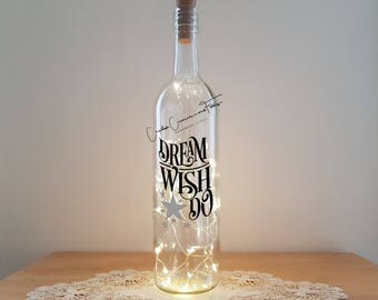 Lit Bottle Kit - Dream Wish Do, Bottle Lamp, Wine Bottle Light, Bottle Light, Table Decor, Unusual Gift, Bottle, Craft Kit, Crafty Creases
