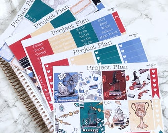 Magic Weekly Planner Sticker Kit 145+ Stickers For Erin Condren Life Planner(Sticker Kit,Planner,Full Kit,Wizard,Witch,Spell, Red, Blue)