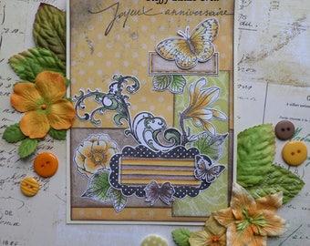 Nature flower Arabesque Brown Orange yellow birthday card