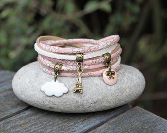 Capel liberty bracelet, paris bracelet, bracelet pink nude cloud eiffel tower bracelet