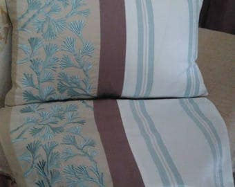 Pair cushion covers  French country vintage recycled fabrics zip will fit 30 x 50cm cushion pads  unique hand made duck egg blue neutrals