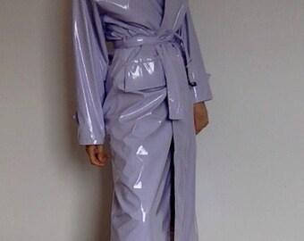 Gorgeous Lilac Purple Pastel / Long Maxi Jacket PVC Rain Coat Duster / Mint Condition / UK 12 / M /  one size fits most / Wet Look
