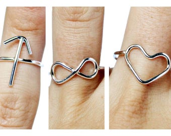 Sterling Silver Symbol Ring, Infinity Ring, Heart Ring, Friendship Ring, Arrow Ring, Love Ring, Hammered Ring, Dainty Ring, Knuckle Ring
