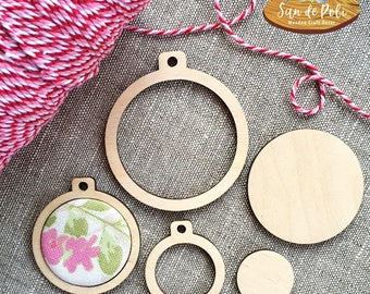 DIY Mini Embroidery Hoop Frame, Wood Pendant, Cross stitch hoop, Fabric Jewelry, Make Your Own, Necklace Pendant, Key Chain, Craft Supply