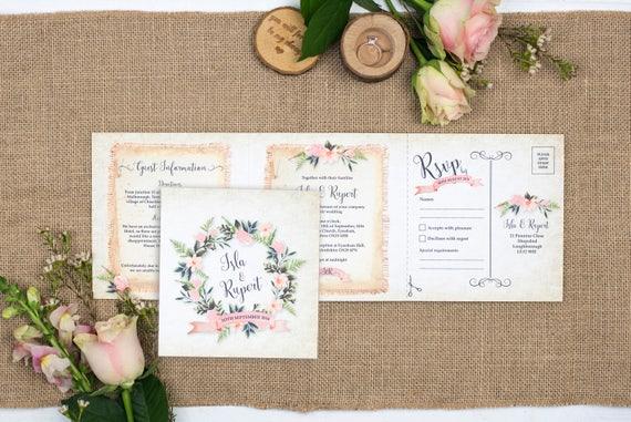 Rustic Wedding Invitation - Double-Folded Rustic Wreath