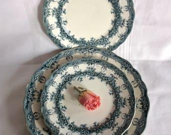 Antique Samuel Ford & Co L semi porcelain dinner and side plate Milan pattern