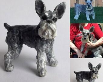 Custom Schnauzer Sculpture | 3D Printed & Hand-painted | Pet Portrait Dog Statue Figurine Memorial | Mini Schnauzer | Standard Schnauzer