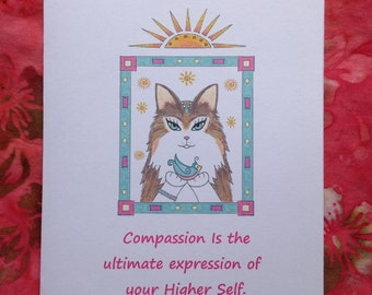 Cat Compassion Greeting Card - Compassionate Cat Greeting Card - Compassion Greeting Card