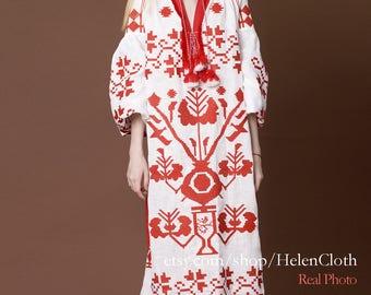 White Linen Embroidered Dress Vyshyvanka Ukrainian Vyshyvanka Dress Mexican Dress Kaftan Abaya Caftan Free Shipping