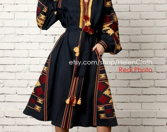 Linen Embroidered Dress Ukrainian Dress Vyshyvanka Boho Style Mexican Embroidery Dress Midi Embroidered Dress Geometric pattern Folk Dress