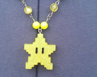 8-bit Invincible Star Yellow Resin Necklace, Super Mario Inspired, Video Game gifts, Nerd jewelry, Geek Chic, Beaded Necklace, Retro, NES