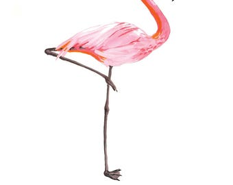 Flamingo Painting, Le Flamant, Pink Cute Gift Idea, Home Decor, Summer Tropical Art Print 8x10