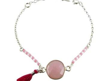Bracelet silver Bosphorus Quartz rose (made in France)