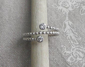 """Silver ring """"beaded bright"""""""