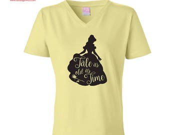 """Beauty and the Beast Belle Disney """"Tale as old as time"""" V-neck T-shirt"""
