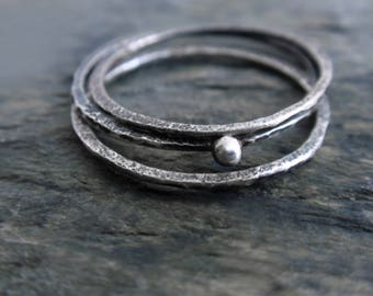 Stacking Hammered Raw Silver Rings, Stacking Rings, Dainty Rings, Hammered Rings, Hammered Silver Rings Set, Oxidized Silver Stacking Rings