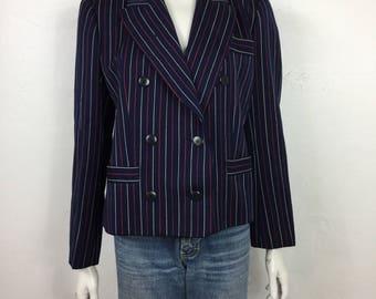 Vtg 80s pinstripe double breasted YSL yves saint laurent rive gauche jacket blazer medium