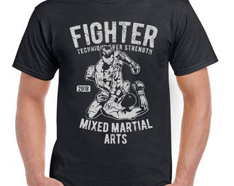 Fighter Mens Funny Mixed Martial Arts T-Shirt MMA Gym Training Top Grappling 2408