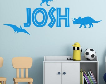 DINOSAUR Personalised ANY NAME Boys Girls Childrens Bedroom Playroom Vinyl Wall Art Sticker Decal Transfer  *20 colours*