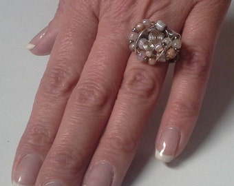 Handmade wire wrapped bead ring