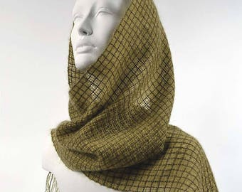 Handwoven olive drab scarf, in kidmohair and tencel. Kidmohair sheer scarf, woven by hand, green khaki.