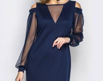 Blue Cocktail Dress Midi dress knee Prom Dress long sleeve Party dress dark blue Evening dress black Holiday dress high low