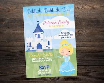 Cinderella Princess Birthday Invite // Custom Birthday Invitation //  5x7 // High Resolution Digital Download JPEG & PDF