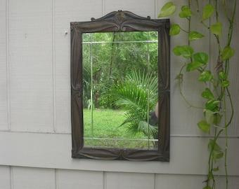 Vintage Antique Wood Framed Mirror Wall Decor Beveled Rustic