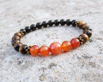Genuine Carnelian Tiger Eye Onyx bracelet Stretch Virgo bracelet Capricorn jewelry Protection bracelet Healing Virgo gift October birthstone