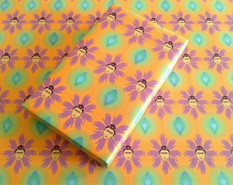 Hand Flowers Frida Kahlo Inspired Wrapping Paper Sheets, Surreal, Artist, Alternative, Zen, 20x29 inches each, shipped rolled in tube