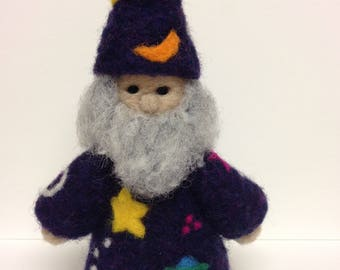 Needle Felted Wool Gnome, Purple