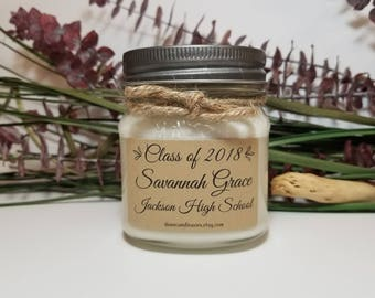 Personalized Graduation Gift - 8oz Soy Candles Handmade - High School Graduate - College Graduation - University - Celebration Gift