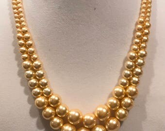 Bridal 2 Strand Pearl Necklace, Classic Styling, Mother Of the Bride, Color Choices, Length Choices