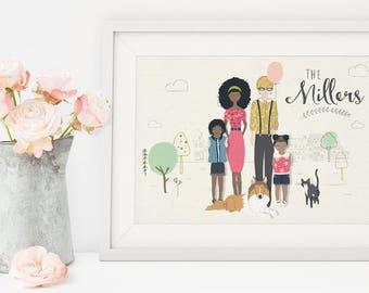 Custom Family Illustration, Digital Custom Family Portrait, Family Portrait, Custom Family Portrait, Custom Illustrated Family Art Print