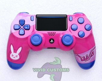 Custom PS4 Controller - Modded Sony PlayStation 4 Pro/Slim Version 2 Dualshock Wireless Pad - Overwatch D.Va Mod V2