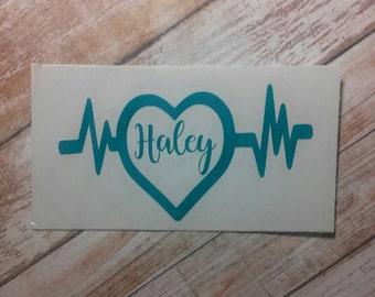 Nursing Decal/ Nursing Monogram/Name Monogram/ Monogram/Decal/ Vinyl Decal/Healthcare Decal/Pulse Decal/YETI Decal/Heartbeat/Pulse/Love/