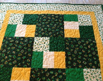 Irish Quilt, Shamrock Quilt, Irish Blanket, Irish Wedding Gift, St. Patrick's Day Quilt