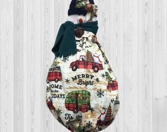 Winter wall decor, winter gift idea, winter decorations, red truck wall decor, Christmas wall decor, kitchen storage, shopping bag holder