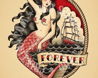 Mermaid. Old School Tattoo. Print.