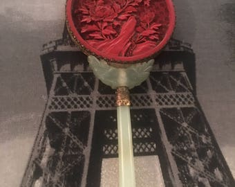 Vintage Chinese Jade hand mirror