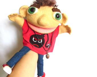 Muppet boy Man Toy Marionette Ventriloquist Professional puppet Puppetry Puppet show Movie puppet Theatre Moving mouth Puppet for children