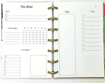 Day On One Page, Untimed Daily, Timed Daily Inserts for the Mini Happy Planner, Mini Size Disc Planner
