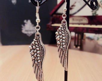 Earrings - silver - bird wing 6.5 cm