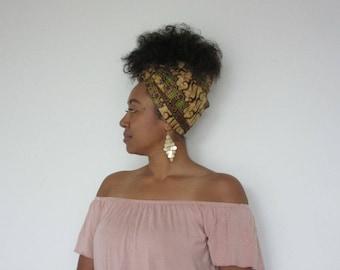 Headwrap Beige Brown Green Purple - CHESTNUT