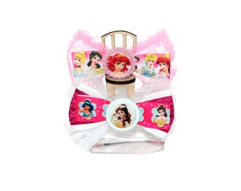 Princess Hair Bow Pink White Bow Princess Hair Clip Girl Hair Bow Princess Birthday Princess Party Princess Outfit Large Bow Gift For Girl