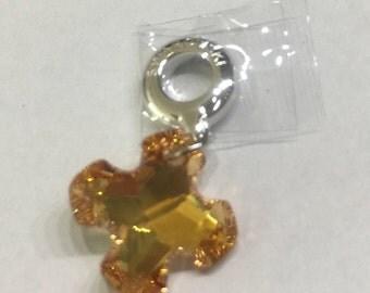 Swarovski becharmed Pendant 87009-Greek cross-crystal Metal Sunshine (001 METSH)-14mm